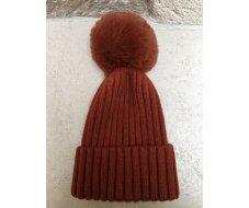 Bonnet en laine uni rouille