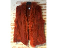 Gilet en fourrure orange taille M/L
