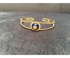 Bracelet jonc pierre bleu
