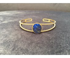 Bracelet jonc avec pierre ovale bleu
